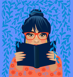 literature fan girl who love to read reading vector image