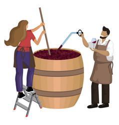 Male winemaker checks wine during fermentation vector