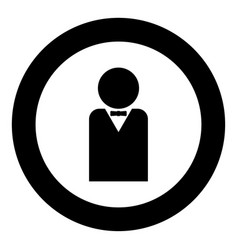 man with bow tie black icon in circle vector image
