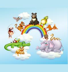 many wild animals over rainbow vector image