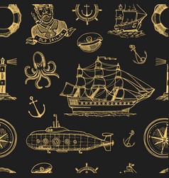 marine and nautical or sea ocean emblems vector image