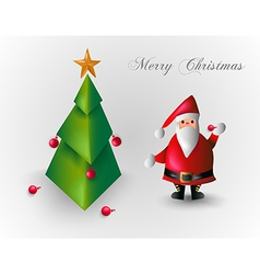 Merry Christmas tree and Santa Claus EPS10 file vector image