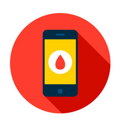 Mobile phone blood circle icon vector