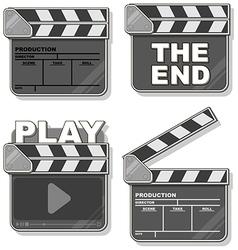 Movie black clapper boards set vector image