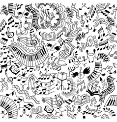 Musical seamless pattern Doodles background vector image