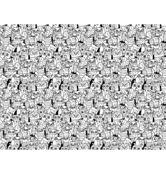 Owls birds group black and white seamless pattern vector image