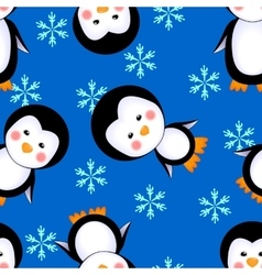 penguins seamless pattern winter vector image