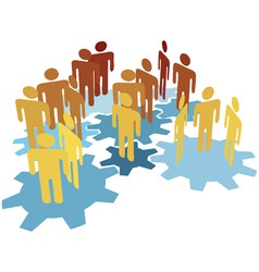 people team work connect on blue gears vector image