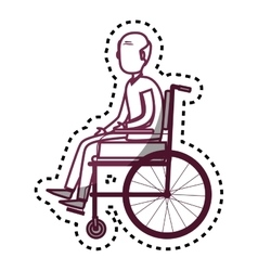Person disabled in wheelchair vector