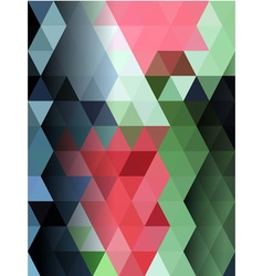 Pink and green triangles pattern vector