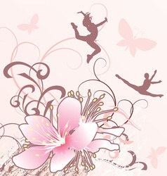 pink flowers girls Converted vector image