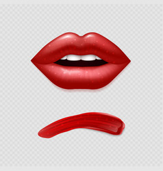 Realistic lipstick smear and woman lips vector
