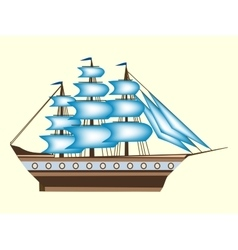 Sailing color ship frigate retro transport sea vector image