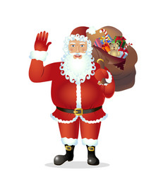 santa claus cartoon waving her hand vector image