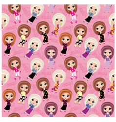seamless girls pattern vector image