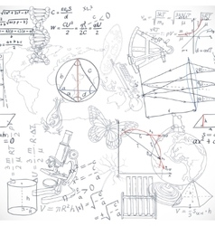 Seamless pattern of the formulas and doodles vector