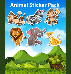 set animal sticker vector image