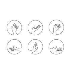 Set female hand logos in minimal linear style vector