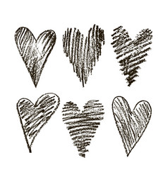set hearts hand drawn vector image