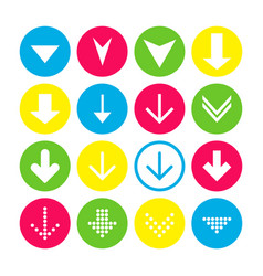 set of 16 down arrow icons arrow buttons on white vector image