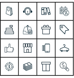 Set of 16 e-commerce icons includes shop till vector