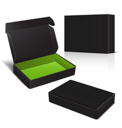 Set of black cardboard box package for vector