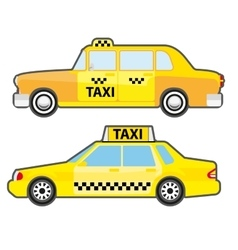 Set of car taxi service side view Yellow vehicle vector image
