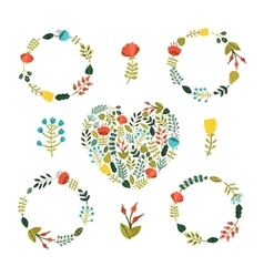 Set of Floral wreath with cute colorful flowers vector