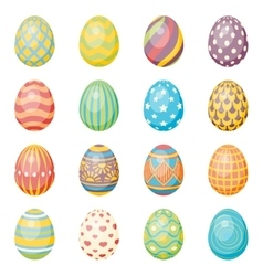 Set of sixteen eggs easter collection vector