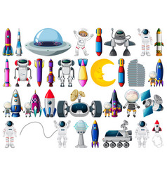 Set space objects and elements isolated vector