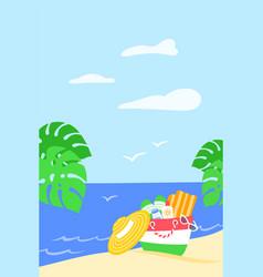 summer beach tropical leaves vertical sea banner vector image