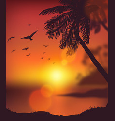 Summer sunset card vector