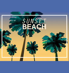 sunset beach at seashore sea landscape with palms vector image