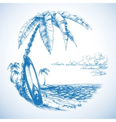 Surfing background palm trees and sea view vector