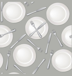 table setting seamless pattern fork knife plate vector image