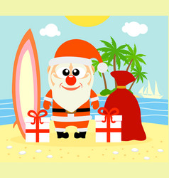 Tropical christmas background with santa claus vector