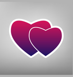 two hearts sign purple gradient icon on vector image