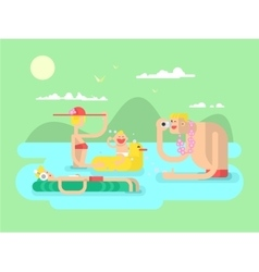Vacation family design flat vector
