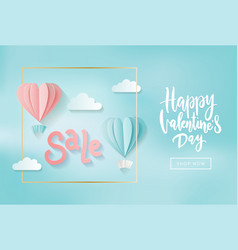 valentine s day sale web banner gentle pink and vector image