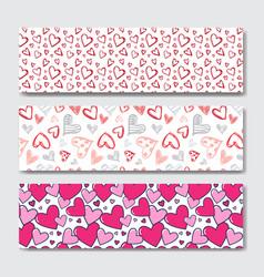 valentines day horizontal banner set decoration vector image