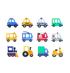 vehicle types - set flat design style icons vector image
