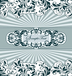 vintage blue card with floral elements vector image