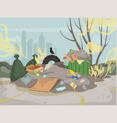 Waste smell toxic junk mountain garbage bad vector