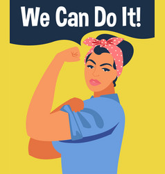 we can do it iconic womans fist symbol female vector image