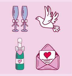 wedding couple relationship marriage nuptial icons vector image