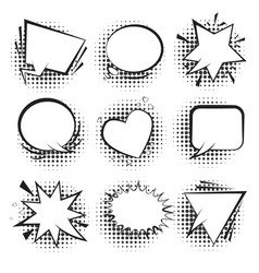 white retro comic speech bubbles with halftone vector image