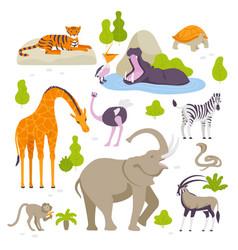 wild animals in the zoo set of vector image
