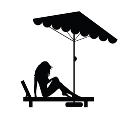 Woman pretty on deckchair black vector