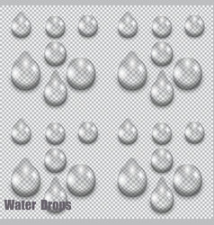 a large set of transparent water drops on vector image