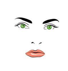 a woman s face green-eyed calm vector image